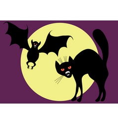 bat and cat vector image