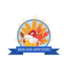 Beer and appetizers poster vector