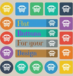 Bus icon sign Set of twenty colored flat round vector image vector image