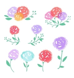 Colorful abstract flowers set vector