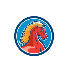 Colt horse head side circle retro vector