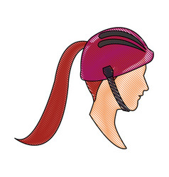 Drawing head profile young woman ponytail and vector