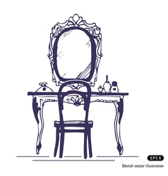 Dressing table and mirror vector