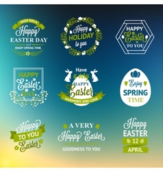 Easter labels and badges on blur background vector image vector image
