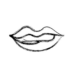 Figure mouth with lipstick and bite inferior lip vector
