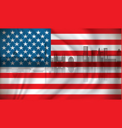 flag of usa with washington skyline vector image