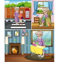 Grandmother doing different activities vector image vector image