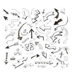 Hand drawn arrows icons set on white vector