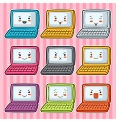 Kawaii doodle laptops set of gadgets vector