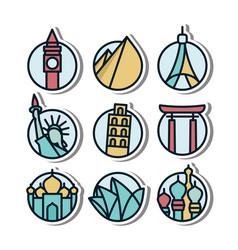 Landmark vynil sticker icon vector