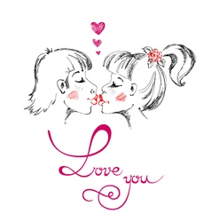 Man and woman kissing love you valentines day vector