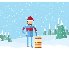Man in santa hat holding a sled flat winter vector