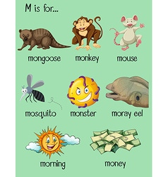 Many words begin with letter m vector