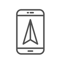 Mobile gps navigation line icon vector