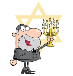 Rabbi man holding up a menorah vector