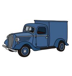 Retro blue delivery car vector