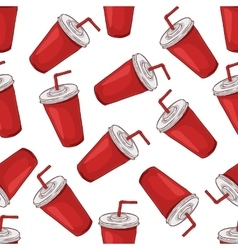 Seamless pattern cola cup scetch and color vector image