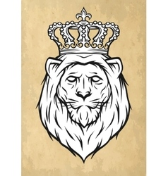 The head of a lion with a crown vector