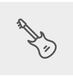 Vintage electric guitar thin line icon vector image