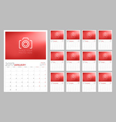 Wall calendar planner template for 2017 year week vector