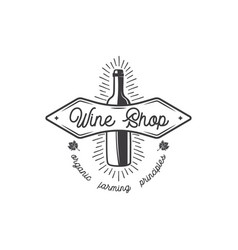Wine shop logo label organic wines principles vector