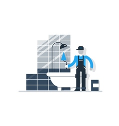 Worker with spatula in bathroom puting tiles home vector