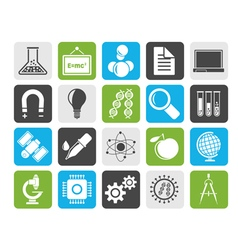 Silhouette science research and education icons vector