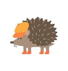 Hedgehog in yellow cap forest animal dressed in vector