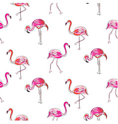hand drawn sketch pink flamingo seamless pattern vector image
