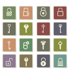 Lock and key icon set vector