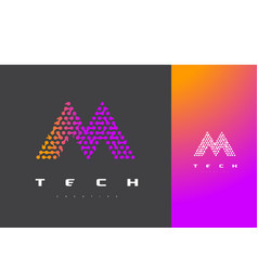 M letter logo technology connected dots letter vector