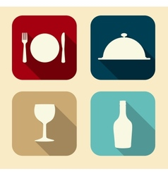 Modern flat food icon set for web and mobile vector