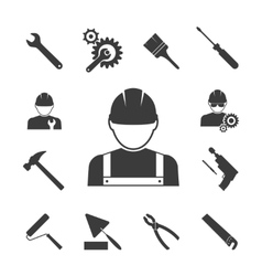 Construction worker icons vector