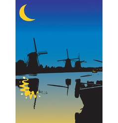 One night from the windmills vector