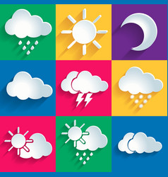 Set of 9 high quality weather icons vector