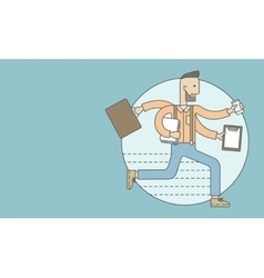 Worker with multitasking job vector image