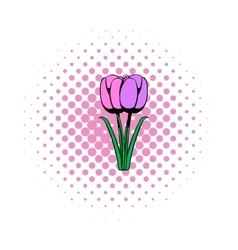 Violet tulip comics icon vector