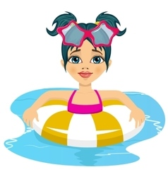 girl swimming in pool on inflatable ring vector image