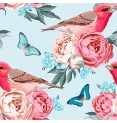 Birds and flowers seamless vector