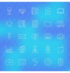 Business office line icons set over polygonal vector