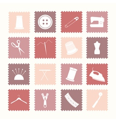 Sewing icons vector image