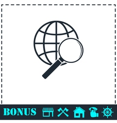 Analyzing world icon flat vector