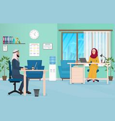 Arab business people in office muslim arabic male vector