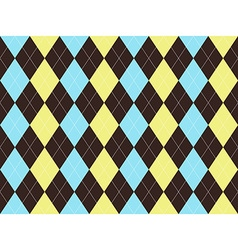 Brown blue yellow argyle seamless pattern vector