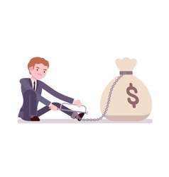Businessman chained with a money sack vector