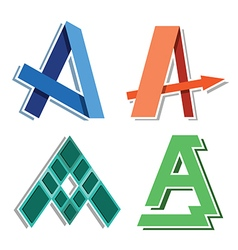 capital letters A design set vector image vector image