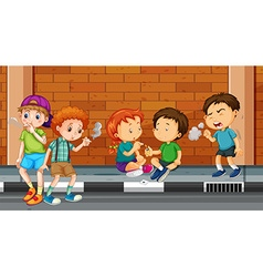 Children smoking and doing drugs on the street vector