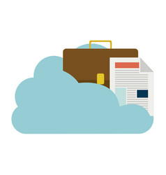 Cloud in cumulus shape with briefcase and document vector