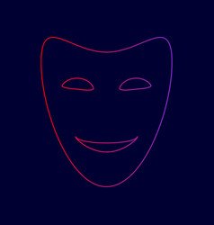 Comedy theatrical masks line icon with vector