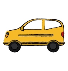 Drawing hatchback car vehicle side view vector